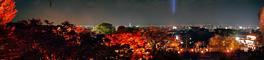 紅葉のライトアップと京都市街のパノラマ夜景写真
